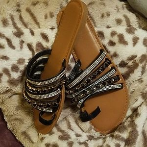 Bamboo rhinestone sandals